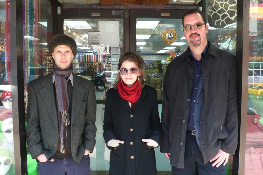 The Jazz Loft Project Staff in front of 821 6th Avenue - From left to right, Dan Partridge, Lauren Hart & Sam Stephenson. Photo by Ted Barron