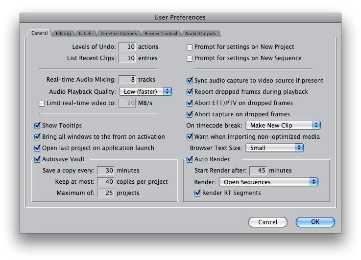 Final Cut Pro Capture Settings